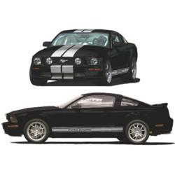 2005 2009 ford racing mustang silver stripe kit part. Black Bedroom Furniture Sets. Home Design Ideas